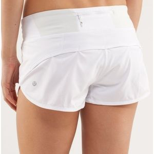 White lululemon speed run shorts